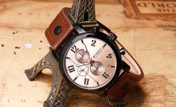 Relógio Masculino Curren Pulseira De Couro Prova D