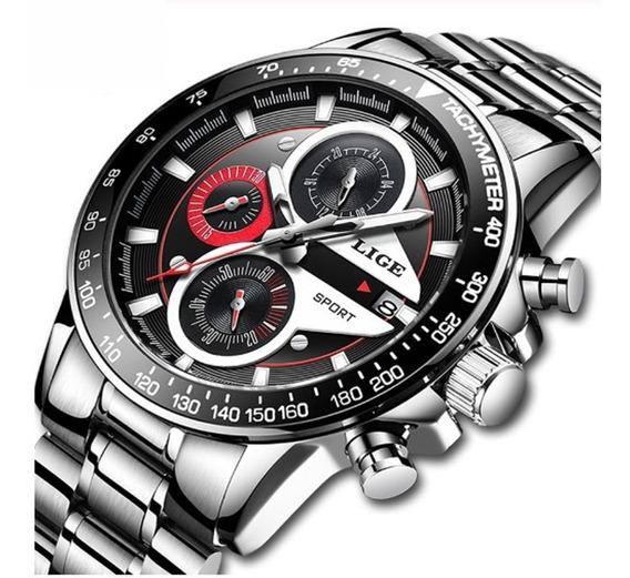 Relógio Masculino Lige 9835 Esporte Prata De Luxo Original