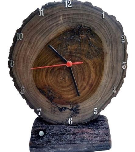 Relógio De Mesa Madeira Ipê Rústico Envio Imediato