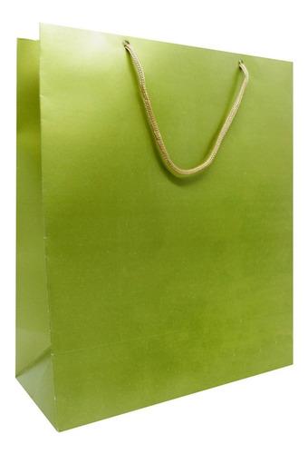 20 Sacolas De Papel Para Presente - Dourada  27x22 Cm