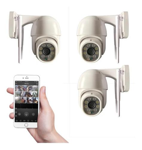 Imagen 1 de 10 de Kit 3 Camaras Seguridad Ip Exterior Wifi Domo Inalambrica