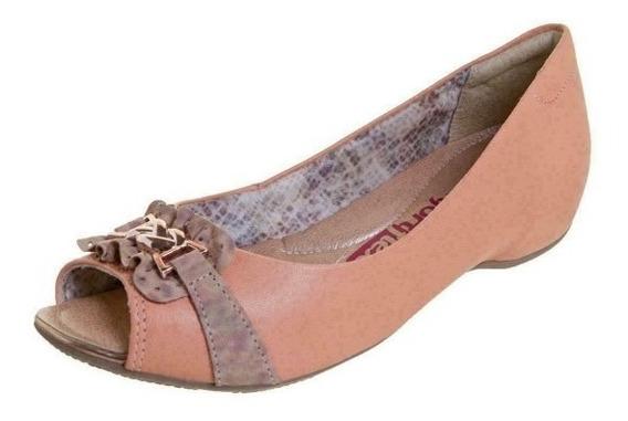 Peep Toe Comfortflex 1376405 - Laranja - Delabela Calçados