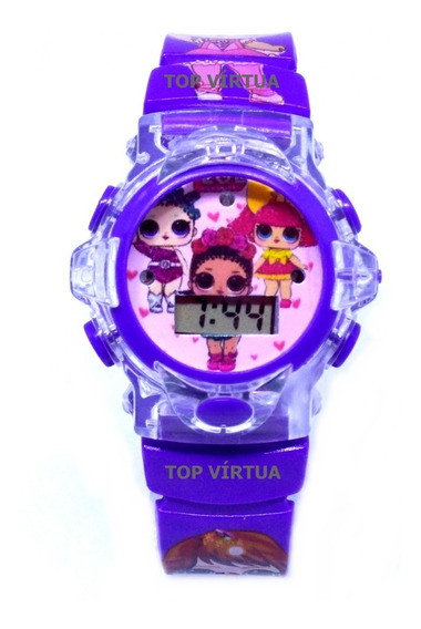 Relógio Da Lol Lilás Com Som E Luzes 3d Infantil Original