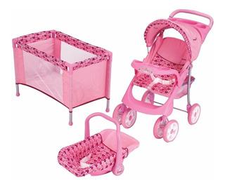 Carriolita Cuna Y Pañalera Para Muñecas 3 Pzas Rosa Prinsel