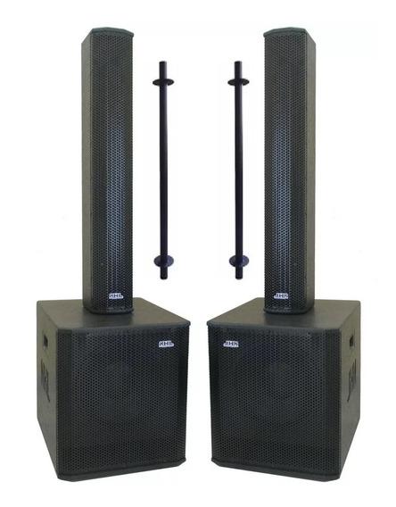 Kit Sonorização Caixa Som Sub 12 Line Array 6x4 1800w Igreja