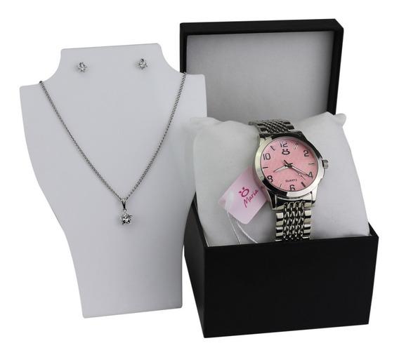 Relógio Prateado Feminino Original + Colar + Brincos - 3a59