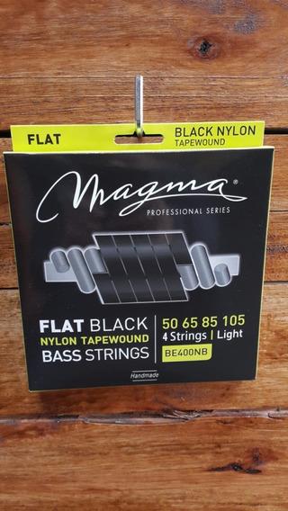 Cuerdas Para Bajo Magma Be400nb 4 Cuerdas Flat Balck Nylon
