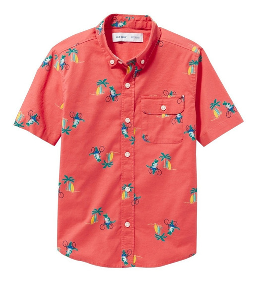 Camisa Niño Casual Manga Corta Estampado Flex Old Navy
