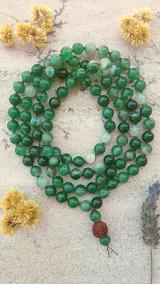 Japamala Pedras Naturais 8mm Ágata Verde Mesc 108 Prana Yoga