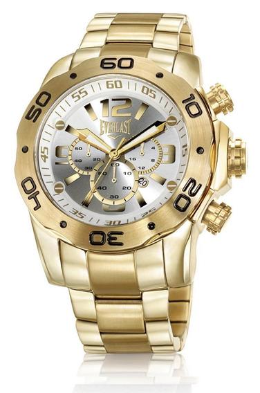 Relógio Masculino Everlast Grande Dourado Aço E543 Promoção