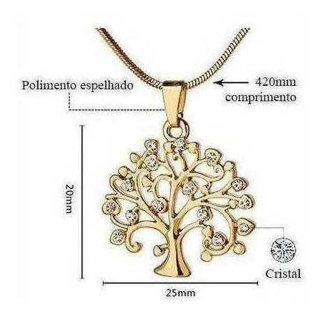 Colar Com Pingente Ouro Rosé Árvore Da Vida Frete Grátis