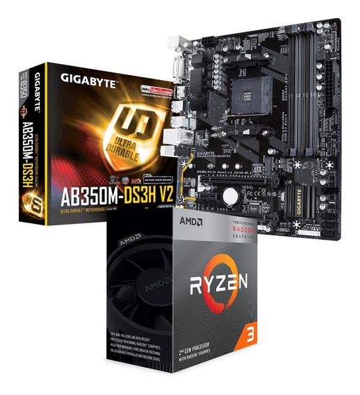 Combo Actualización Amd Ryzen 3 3200g + Ab350m-ds3h V2