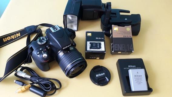 Camera Nikon D3300 + Flash Yn565ex + Grip + Bolsa + Cartão