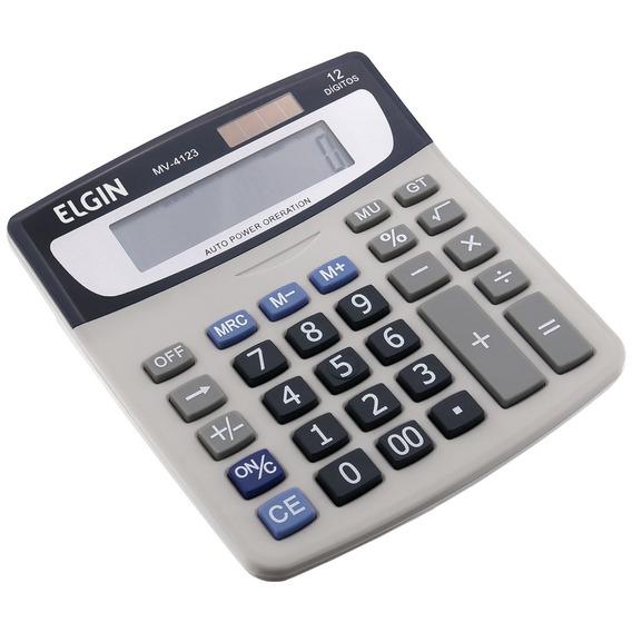 Calculadora Elgin Mv4123 Solar E Bateria 12 Dígitos Cinza