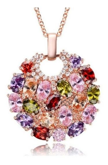 Collar De Zirconias Multi Colores Dorado Rosado Para Mujeres