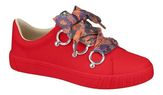 Tênis Feminino Moleca Vermelho Cadarço Estampado 5645111