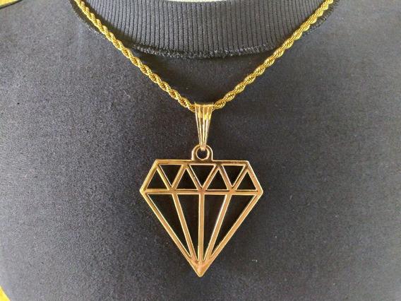 Corrente Masculina Banhado A Ouro Com Pingente Diamante