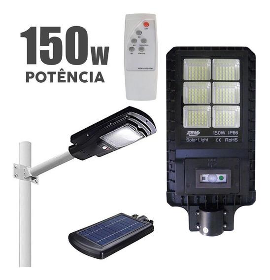 Luminaria Led Solar Refletor Prova Agua Poste Sensor 150w