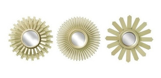 Juego De 3 Espejos Decorativos Auria Dorados