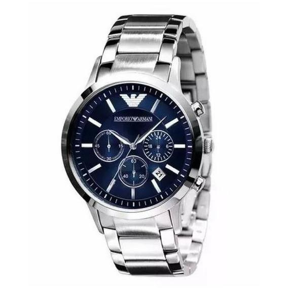 Relógio Emporio Armani Ar2448 Aço Escovado Azul