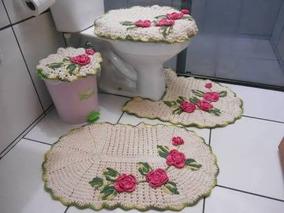 Kit Com 3 Tapetes Artesanais Para Banheiro