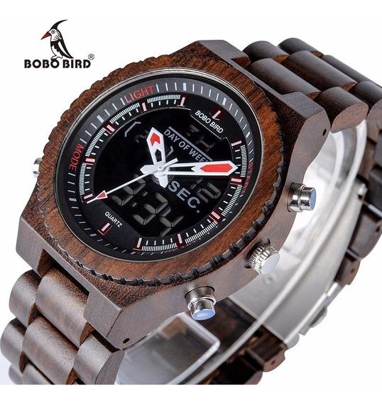 Relógio Masculino Digital Madeira Bambu Bobo Bird Original