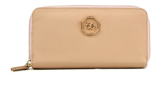 Cartera Cierre Doble Logo Hexagonal Nude