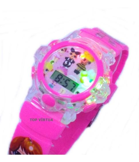 Relógio Da Lol Rosa Com Som E Luzes 3d Infantil Original