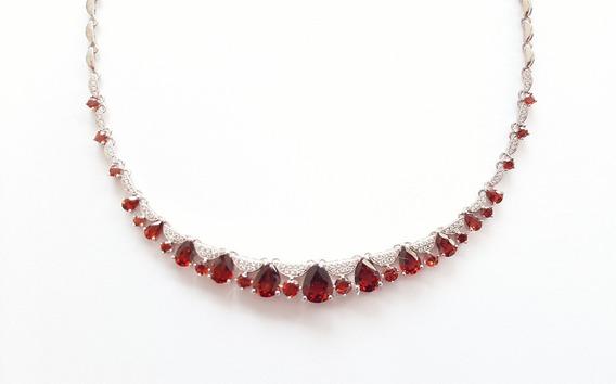 Collar Rubí Montaña Granates Auténticos Ak Jewelry Oro 18k