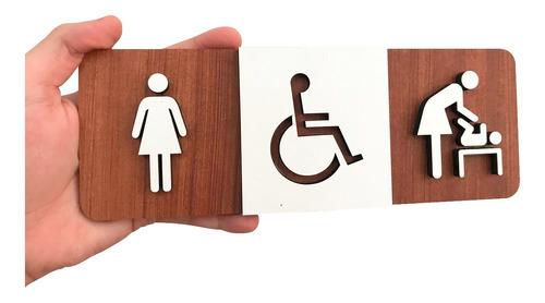 Imagem 1 de 3 de Placa Sinalização Banheiro Deficiente Fraldário Feminino