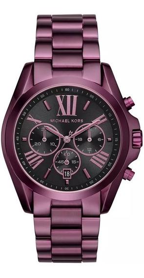 Relógio Michael Kors Bradshaw Cronógrafo Mk6398 Roxo