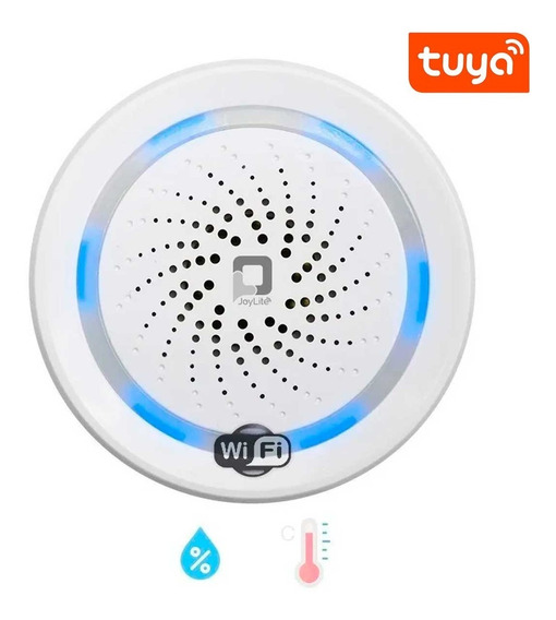 Wifi 3 En Uno Alarma Sirena Inteligente Temperatura Humedad Alexa Google Alerta Seguridad Via App Celular Negocio Casa