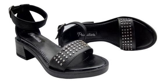 Sandalia Cuero Tachas Base De Goma Taco Zapato Mujer 43da