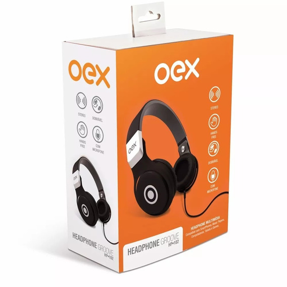 Headphone Oex Hp102 Microfone Dobrável Preto
