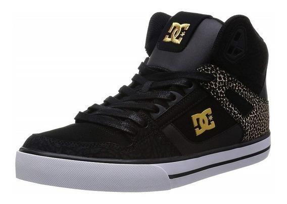 Tenis Dc Shoes Hombre Spartan High Black Gold Lace Up 303358