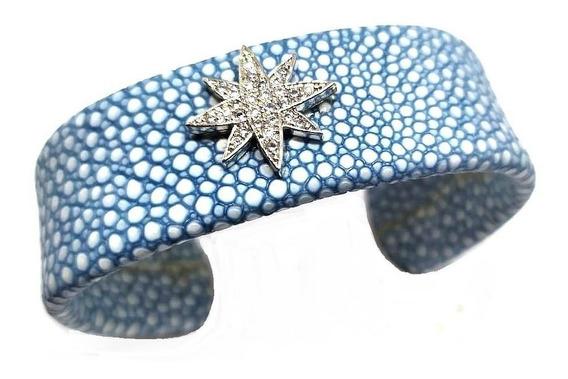 Eb6-bracelete Couro Estrela Zirconias Rodio Kessel