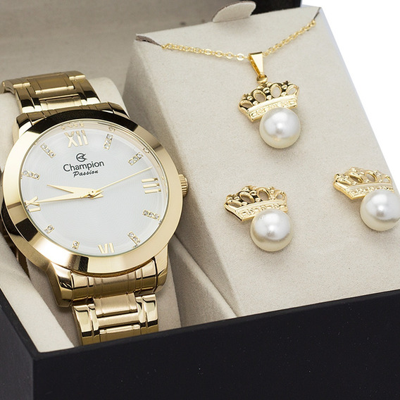 Relógio Champion Feminino Dourado + Brinde Colar Brinco