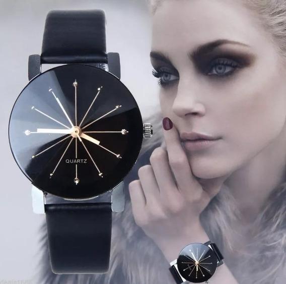 Relógio Feminino Pulso Barato Pulseira Couro