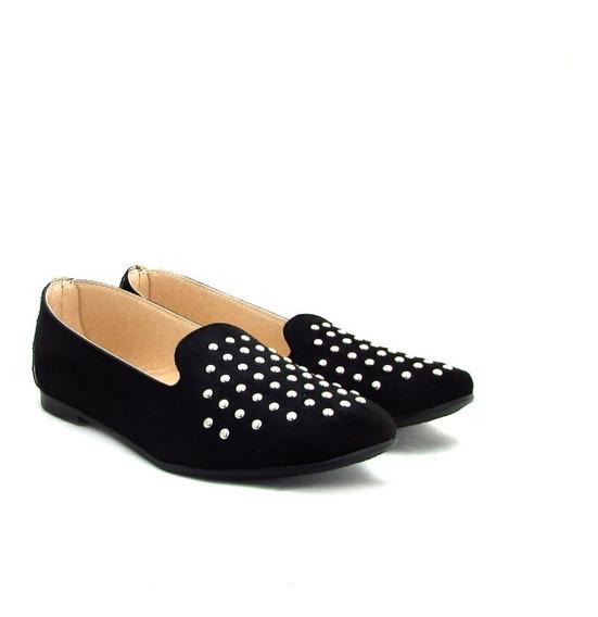 Zapatos Mujer Chatitas Tachas Microfibra Invierno 2019 Art39