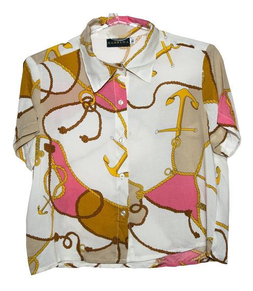 Camisa Manga Corta De Mujer Fibrana Estampada Diseño Único