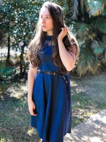 Vestido Jeans Godê Midi Moda Evangélica