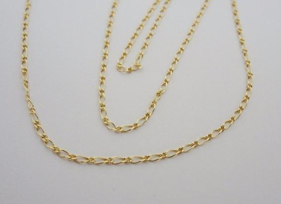 Corrente Folheada Ouro - Elos Fígaro 50cm