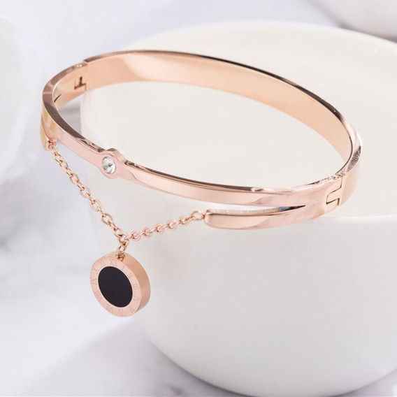 Pulseira / Bracelete Ouro Rosé Linha Romanos Luxo Clássico