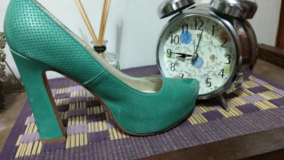 Zapatos Verde Manzana Taco Cuadrado