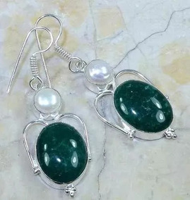 Brinco Feminino De Prata 925 Pedras Naturais Esmeraldas