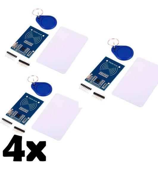 Kit 4x Leitor Rfid Rc522 Mfrc 522 Cartão Tag Mifare 13.56mhz