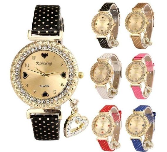 Relógio Feminino Preto Coração Delicado Com Pingente