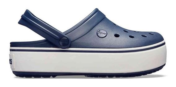 Crocs Crocband Mujer Plataforma Navy Azul Blanca Originales