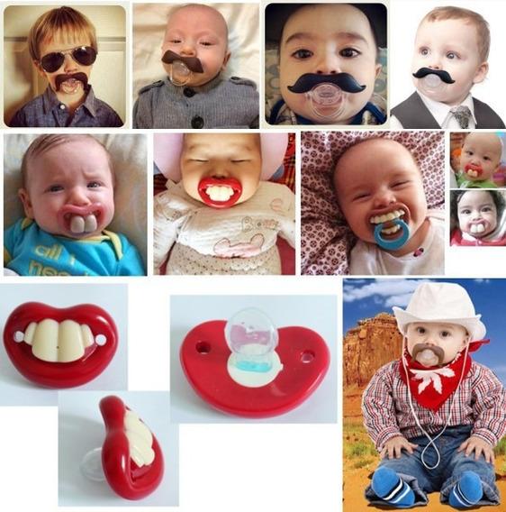 Kit Com 4 Chupetas Engraçada Infantil Bebe Bocão Promoçao