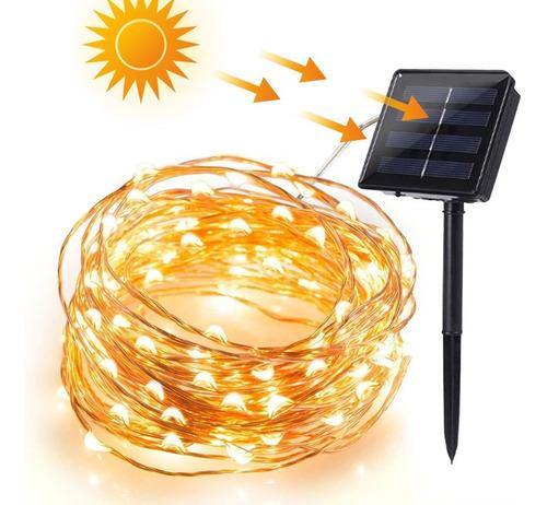 Serie Led Navideña De Luces Solares De 10 Metros